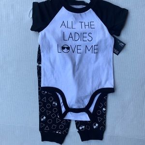 Okie Dokie 12 month outfit with black and white
